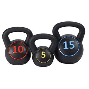 3 piece kettlebell exercise weight set 5 10 15